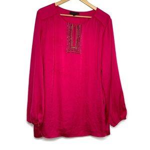 Lane Bryant Pink Beaded Boho Scoop Neck Shirt